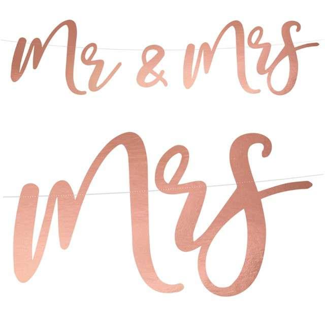 """Baner """"Mr & Mrs"""", różowe złoto, PartyDeco, 68 cm"""