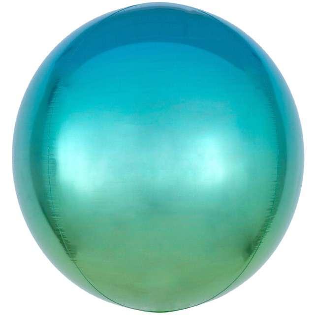 "Balon foliowy ""Kula Ombre"", błękitny, AMSCAN, 16"" ORB"
