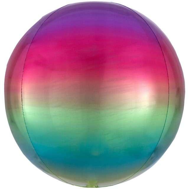 """Balon foliowy """"Kula Ombre"""", tęczowy, AMSCAN, 16"""" ORB"""