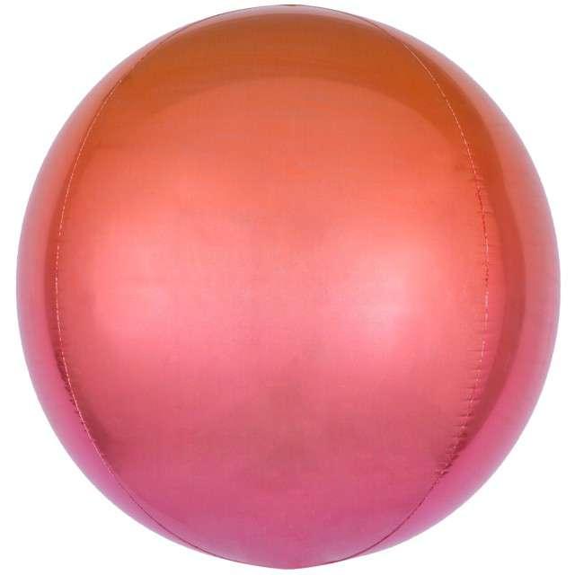 """Balon foliowy """"Kula Ombre"""", pomarańczowy, AMSCAN, 16"""" ORB"""