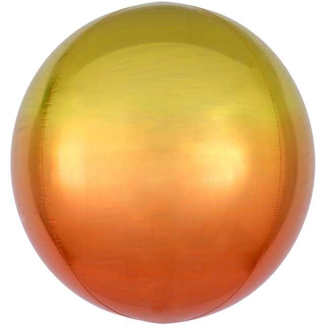 """Balon foliowy """"Kula Ombre"""", żółty, AMSCAN, 16"""" ORB"""