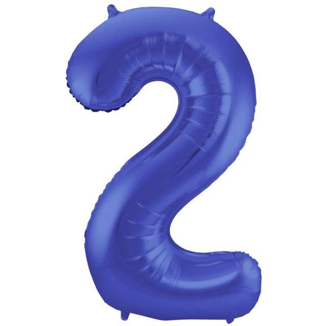 "Balon foliowy cyfra 2, 34"", FOLAT, niebieski mat"