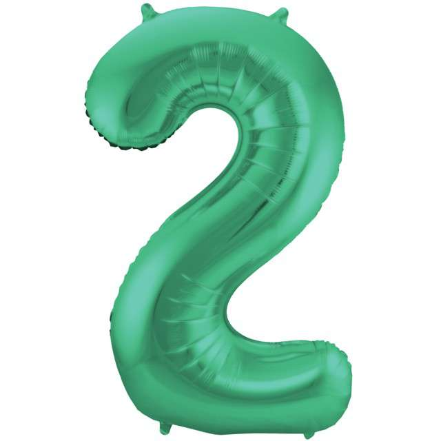 """Balon foliowy cyfra 2, 34"""", FOLAT, zielony mat"""