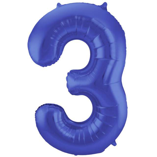 "Balon foliowy cyfra 3, 34"", FOLAT, niebieski mat"