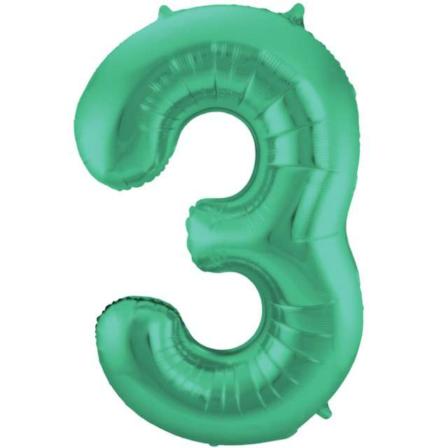 """Balon foliowy cyfra 3, 34"""", FOLAT, zielony mat"""