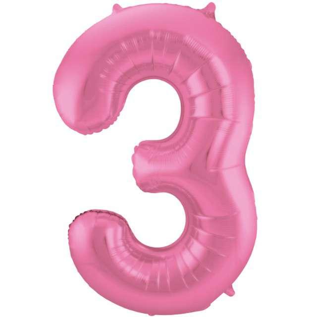 """Balon foliowy cyfra 3, 34"""", FOLAT, różowy mat"""