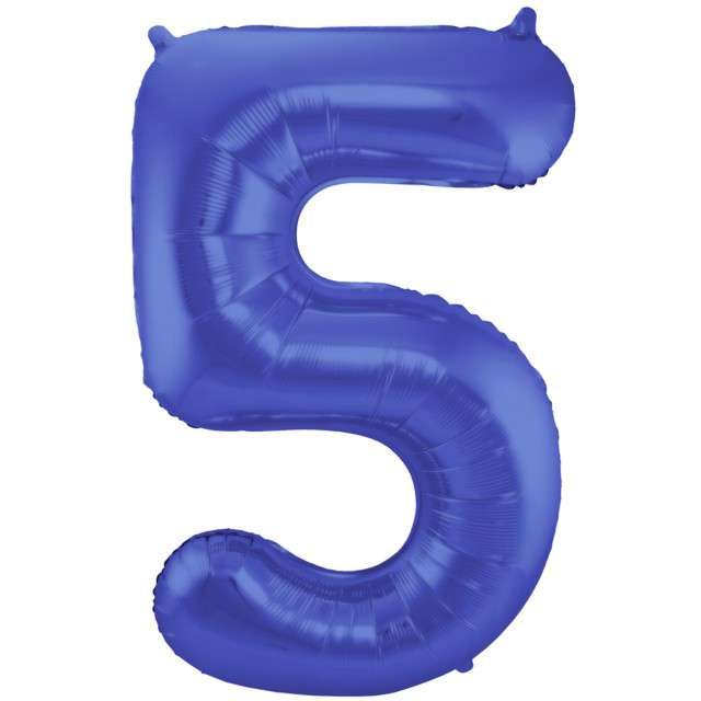 "Balon foliowy cyfra 5, 34"", FOLAT, niebieski mat"