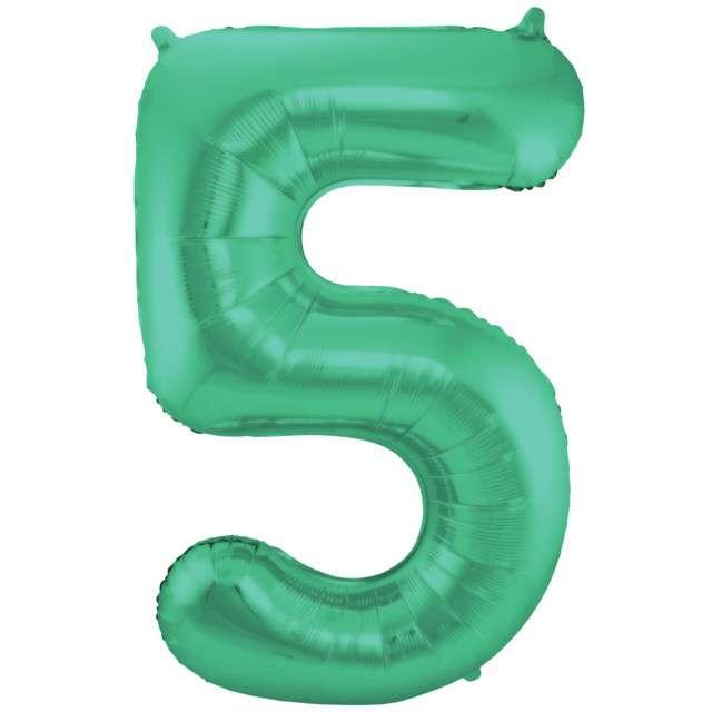 """Balon foliowy cyfra 5, 34"""", FOLAT, zielony mat"""