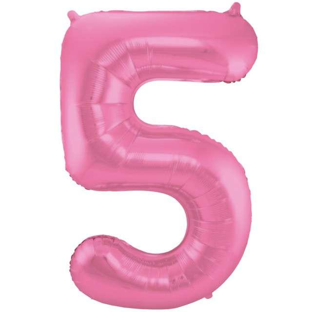 """Balon foliowy cyfra 5, 34"""", FOLAT, różowy mat"""