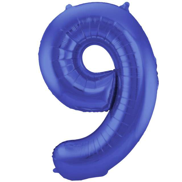 "Balon foliowy cyfra 9, 34"", FOLAT, niebieski mat"