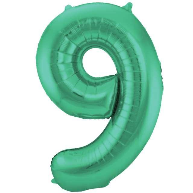 """Balon foliowy cyfra 9, 34"""", FOLAT, zielony mat"""