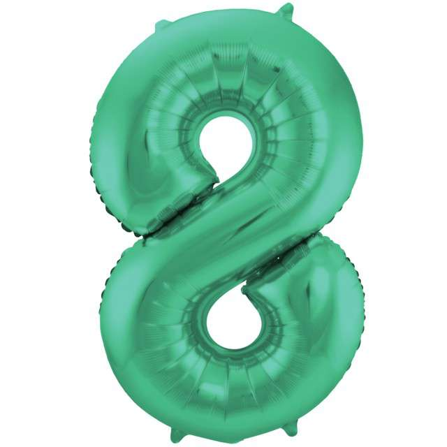 """Balon foliowy cyfra 8, 34"""", FOLAT, zielony mat"""