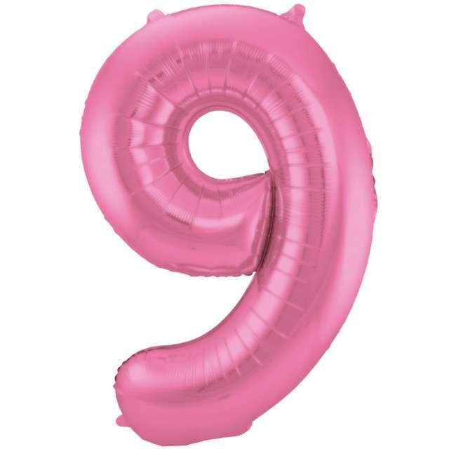 """Balon foliowy cyfra 9, 34"""", FOLAT, różowy mat"""
