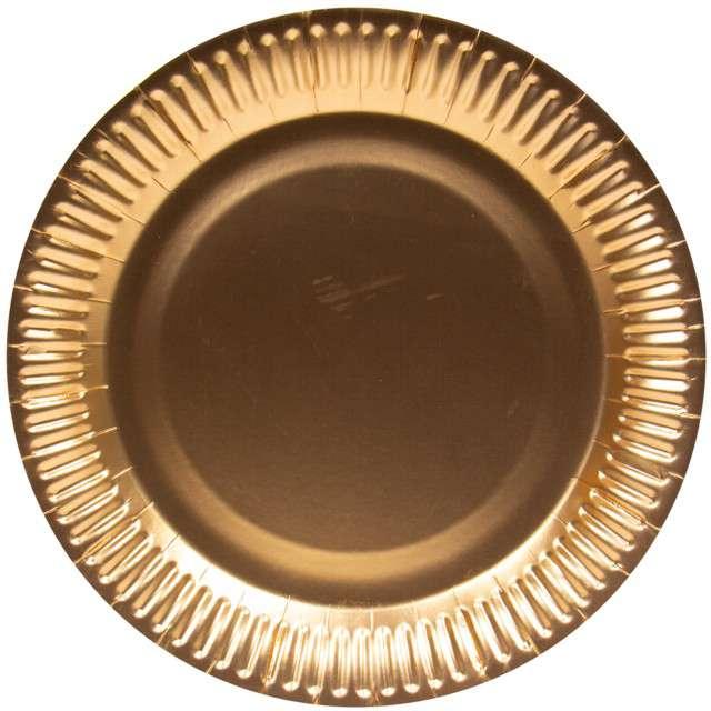 """Talerzyki papierowe """"Premium Mat"""", różowe-złoto, FOLAT, 23 cm, 8 szt"""