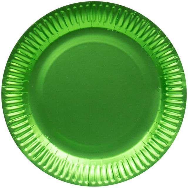 """Talerzyki papierowe """"Premium Mat"""", zielone jabłuszko, FOLAT, 23 cm, 8 szt"""