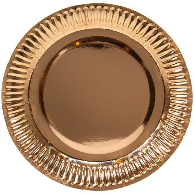 """Talerzyki papierowe """"Metalic"""", różowe-złoto, FOLAT, 23 cm, 8 szt"""