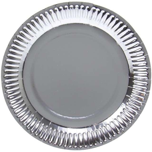 """Talerzyki papierowe """"Metalic"""", srebrne, FOLAT, 23 cm, 8 szt"""