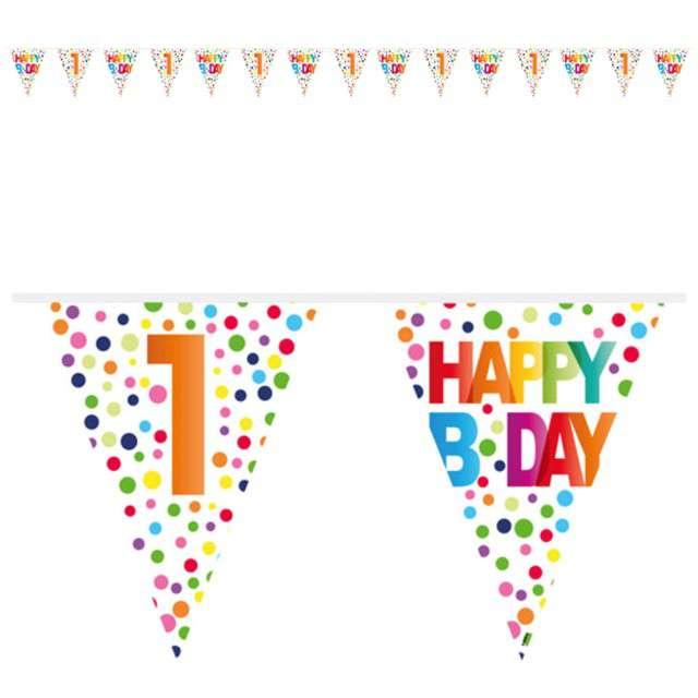 """Baner flagi """"1 Urodziny - Tęczowe Kropki"""", FOLAT, 1000 cm"""
