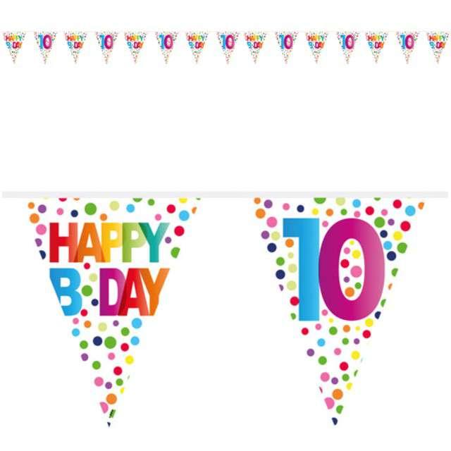 """Baner flagi """"10 Urodziny - Tęczowe Kropki"""", FOLAT, 1000 cm"""