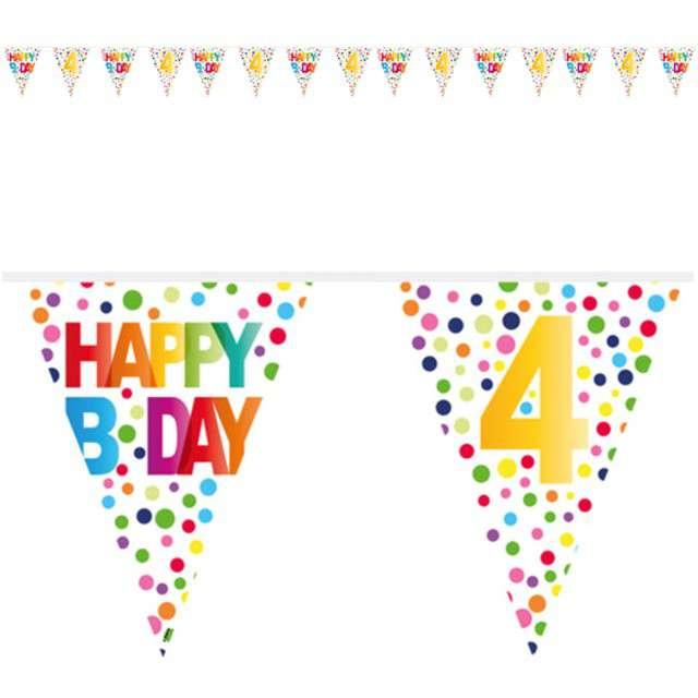 """Baner flagi """"4 Urodziny - Tęczowe Kropki"""", FOLAT, 1000 cm"""