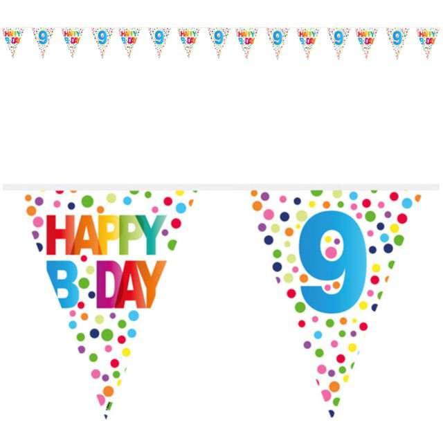 """Baner flagi """"9 Urodziny - Tęczowe Kropki"""", FOLAT, 1000 cm"""