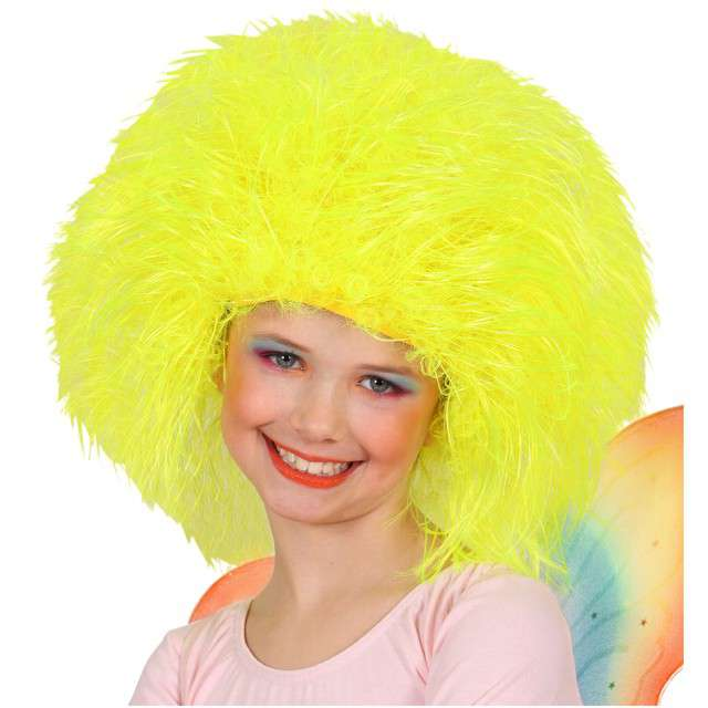 """Peruka party """"Wróżka Afro"""", żółta neonowa, WIDMANN"""