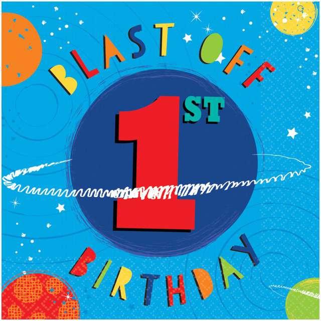 """Serwetki """"1 Urodziny - Blast OFF 1st Birthday"""", AMSCAN, 33 cm, 16 szt"""