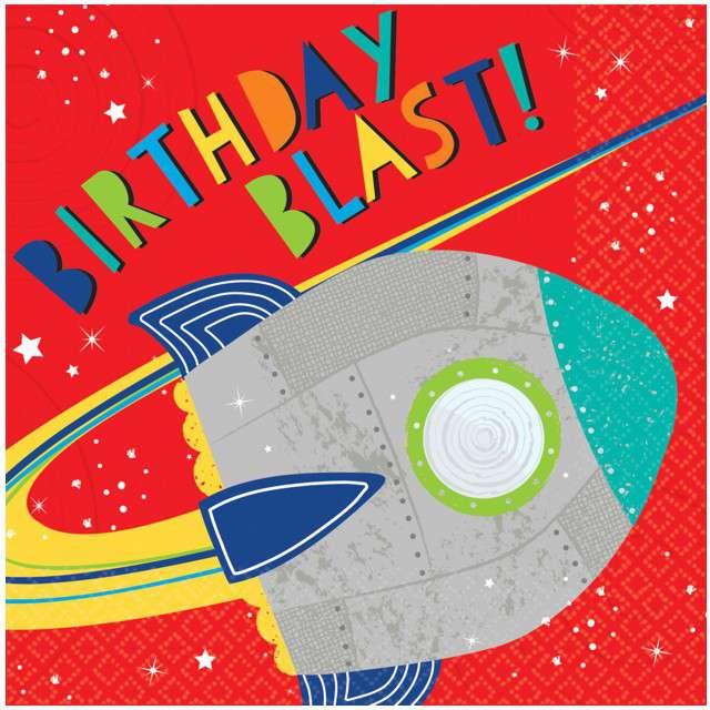 "Serwetki ""Blast Off Birthday"", AMSCAN, 33 cm, 16 szt"