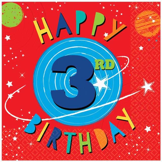 """Serwetki """"3 Urodziny - Blast OFF 3rd Birthday"""", AMSCAN, 33 cm, 16 szt"""
