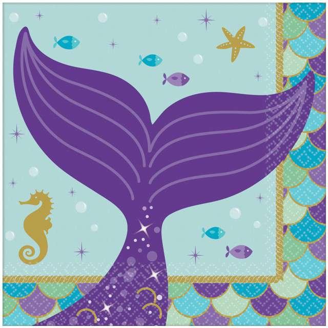 "Serwetki ""Mermaid Wishes"", AMSCAN, 25 cm, 16 szt"
