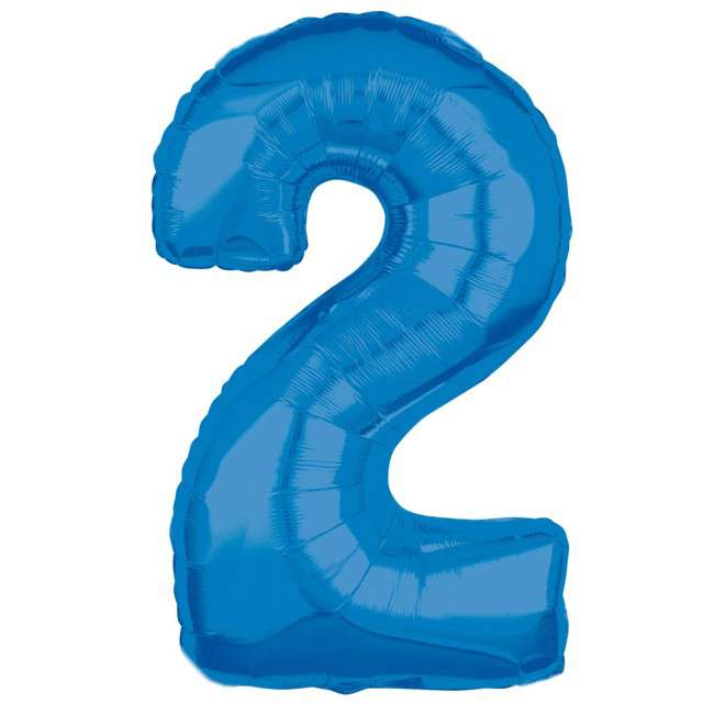 """Balon foliowy cyfra 2, 26"""", AMSCAN, niebieski"""