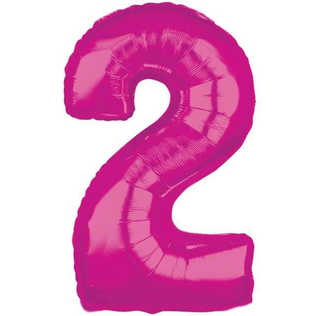 """Balon foliowy cyfra 2, 26"""", AMSCAN, różowy"""