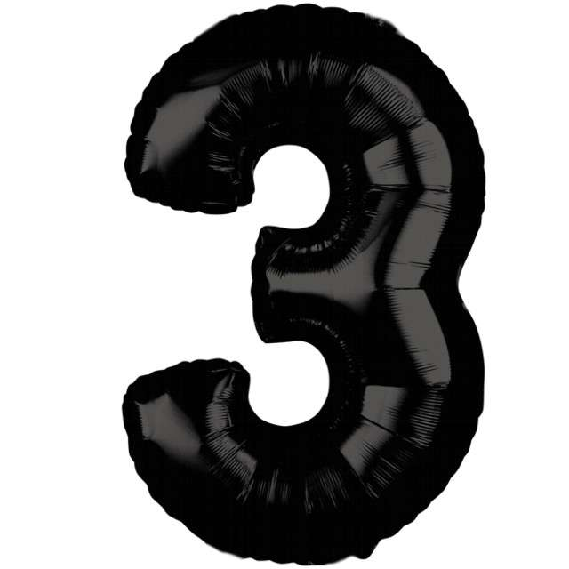"""Balon foliowy cyfra 3, 26"""", AMSCAN, czarny"""