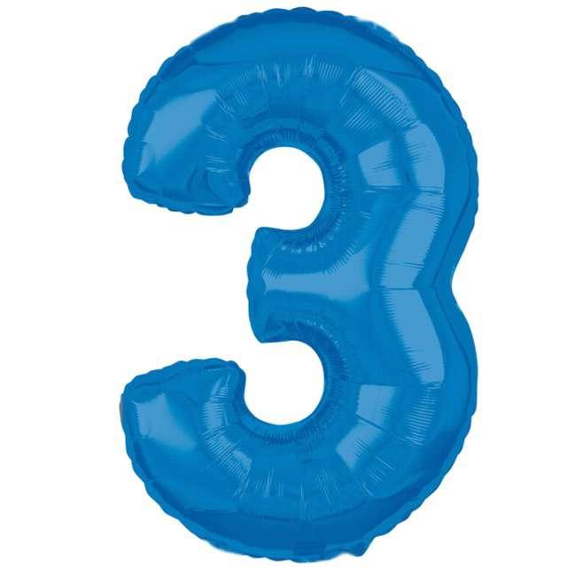 """Balon foliowy cyfra 3, 26"""", AMSCAN, niebieski"""