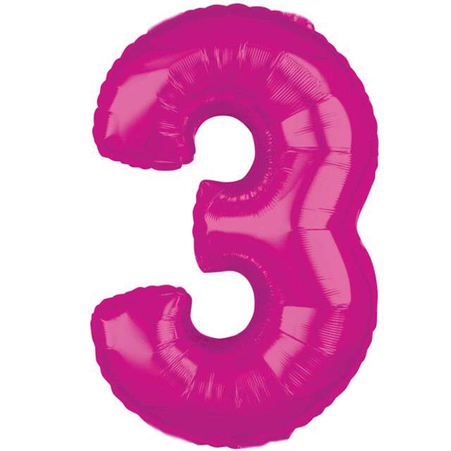 """Balon foliowy cyfra 3, 26"""", AMSCAN, różowy"""