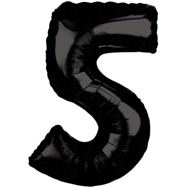 """Balon foliowy cyfra 5, 26"""", AMSCAN, czarny"""