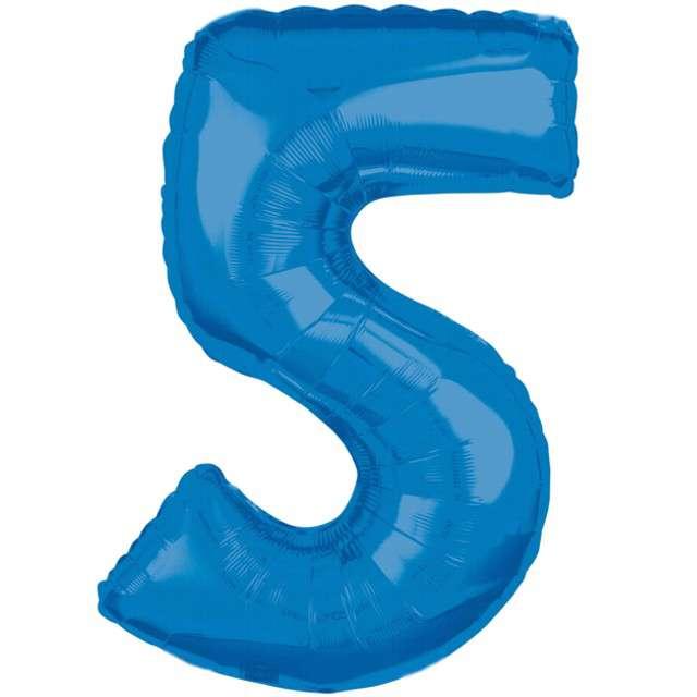 """Balon foliowy cyfra 5, 26"""", AMSCAN, niebieski"""