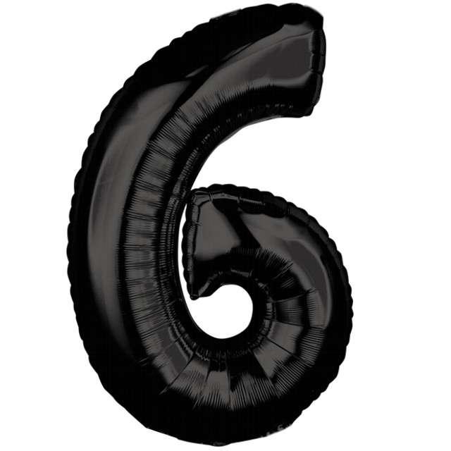 """Balon foliowy cyfra 6, 26"""", AMSCAN, czarny"""