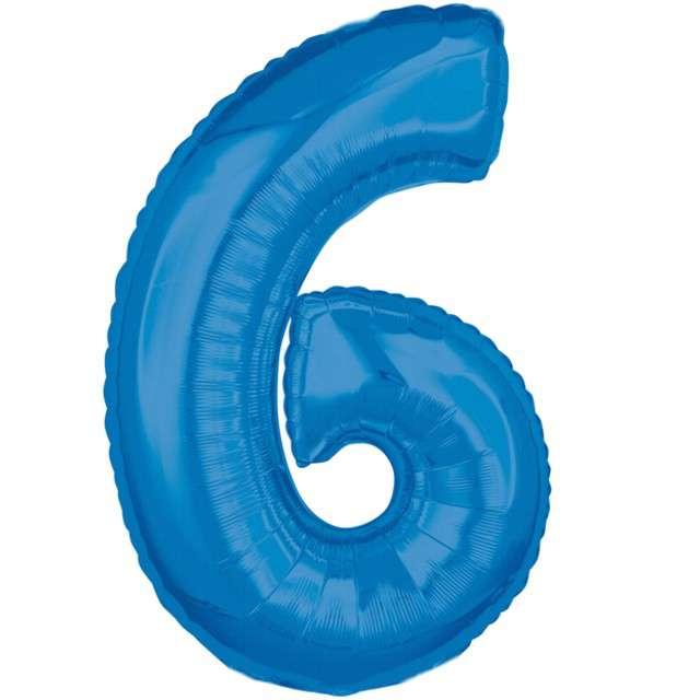"""Balon foliowy cyfra 6, 26"""", AMSCAN, niebieski"""