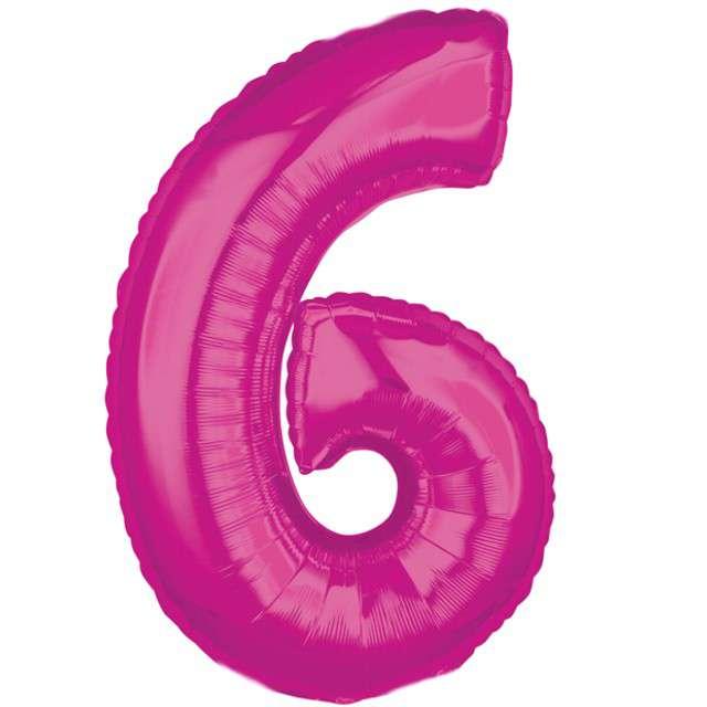 """Balon foliowy cyfra 6, 26"""", AMSCAN, różowy"""