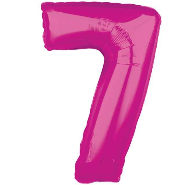 """Balon foliowy cyfra 7, 26"""", AMSCAN, różowy"""