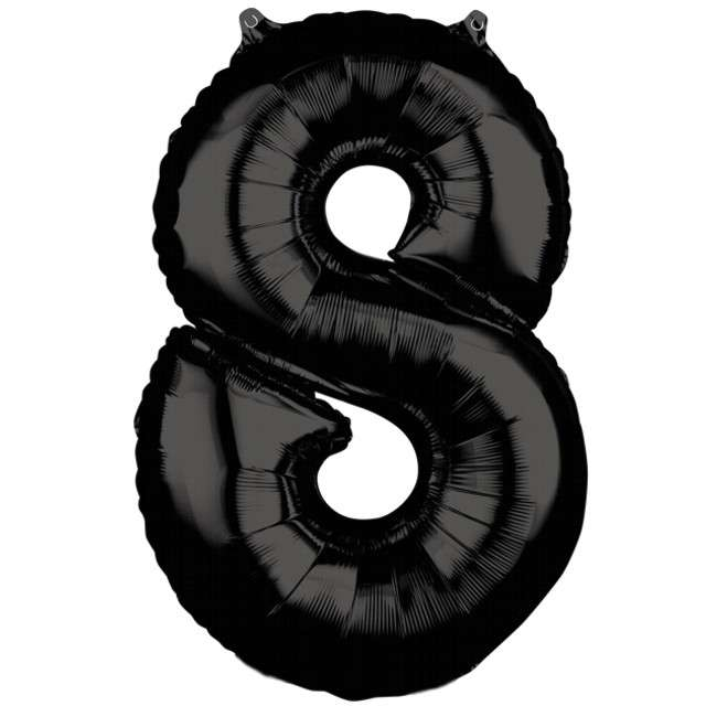 """Balon foliowy cyfra 8, 26"""", AMSCAN, czarny"""