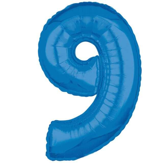 """Balon foliowy cyfra 9, 26"""", AMSCAN, niebieski"""