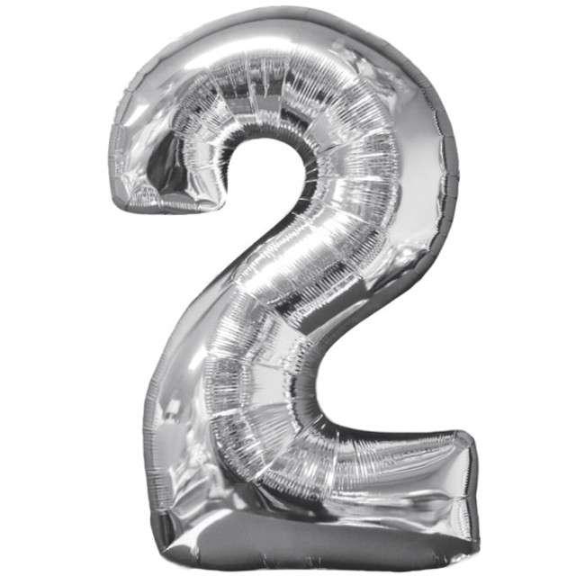 """Balon foliowy cyfra 2, 26"""", AMSCAN, srebrny"""