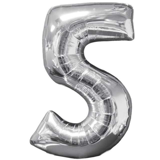 """Balon foliowy cyfra 5, 26"""", AMSCAN, srebrny"""