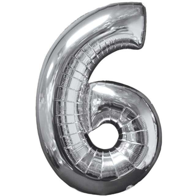 """Balon foliowy cyfra 6, 26"""", AMSCAN, srebrny"""