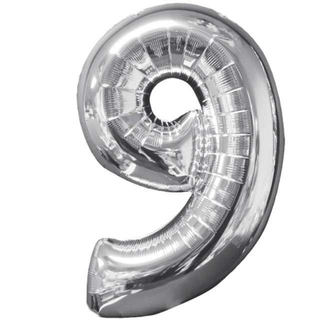 """Balon foliowy cyfra 9, 26"""", AMSCAN, srebrny"""