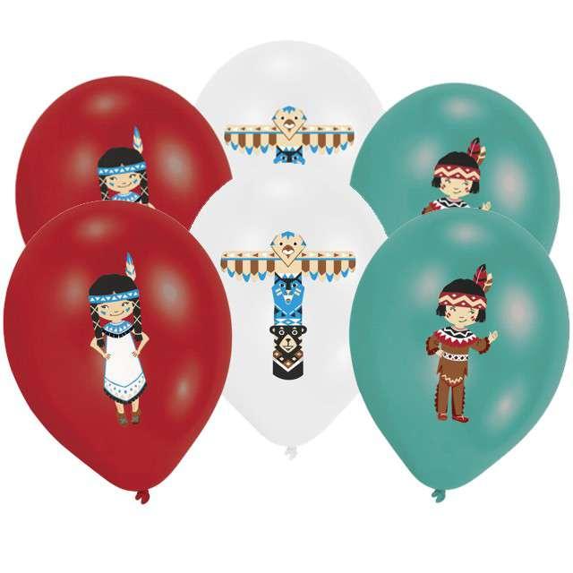"""Balony """"Indianie - Tepee & Tomahawk"""", pastel mix, AMSCAN, 11"""", 6 szt"""