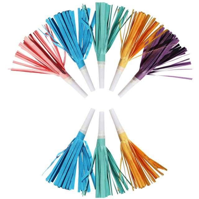 "Trabki papierowe horn ""Fredzle - Rainbow & Cloud"", mix, AMSCAN, 8 szt"