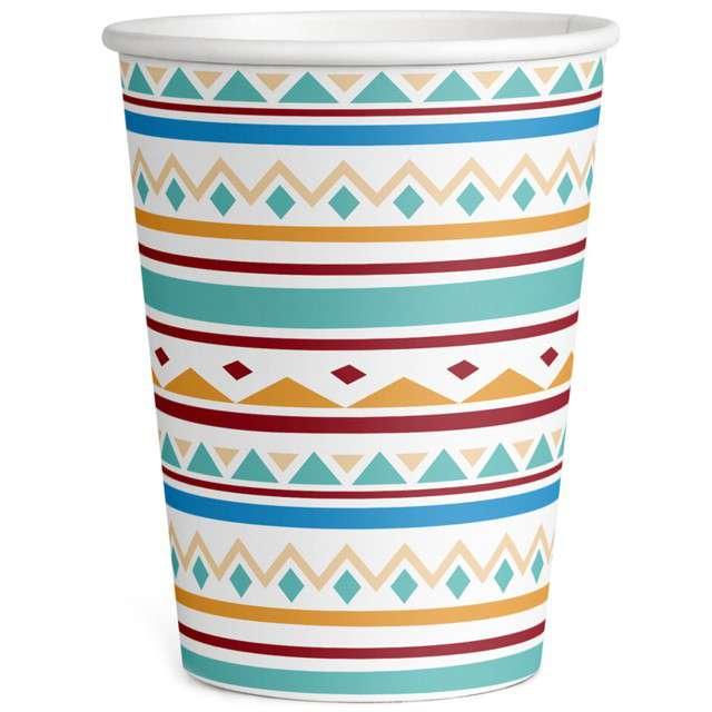 """Kubeczki papierowe """"Indiańskie Wzory"""", AMSCAN, 250 ml, 8 szt"""